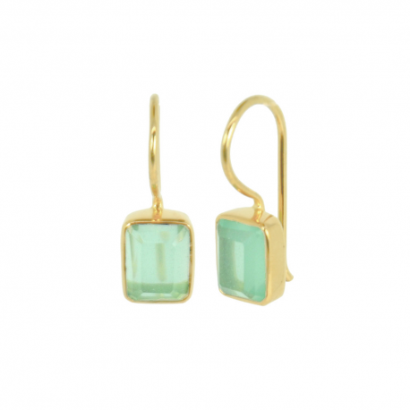 Gold plated ear hangers with aqua chalcedony