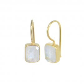 Gold plated ear hangers with moonstone