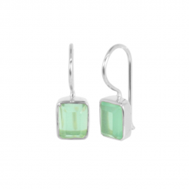 Silver ear hangers with aqua chalcedony