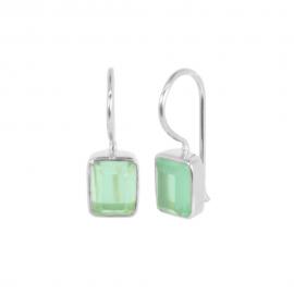 Silver ear hangers with aqua chalcedony