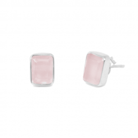 Ear studs with pink chalcedony in silver