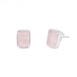Ohrstecker aus Silber mit rosa Chalcedonen