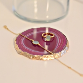 Armband mit Aqua Chalcedon aus vergoldetem Silber