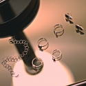 Minimalstischer Ring mit rechteckigem Bergrkristall - Silber