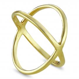 Minimalistischer, gekreuzter Ring - vergoldet