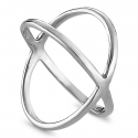 Minimalistischer, gekreuzter Ring - Silber