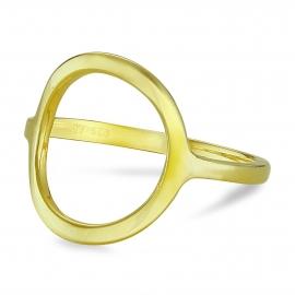 Vergoldeter Silberring mit grossem Kreis