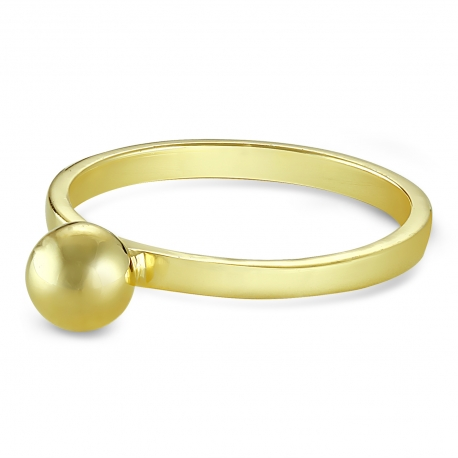 Gold plated silver ring with ball