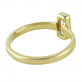 Gold plated silver ring with square rock crystal