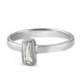 Rhodinierter Silberring mit eckigem Bergkristall