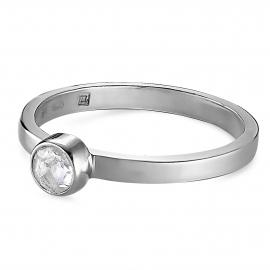 Solitär Ring mit Bergkristall - Silber