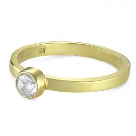 Solitär Ring mit Bergkristall - vergoldet