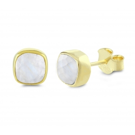 Mini ear studs with moonstones - gold plated