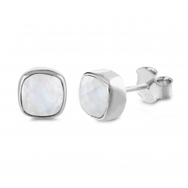 Mini ear studs with moonstones - Silver