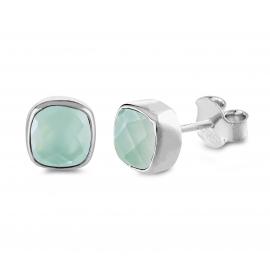 Mini ear studs with aqua chalcedonies- Silver