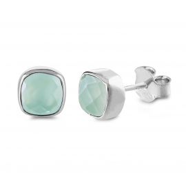 Mini ear studs with aqua chalcedonies - Silver