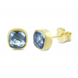 Mini ear studs with blue quartz - gold plated