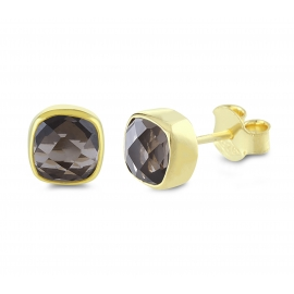 Mini ear studs with smoky quartz - gold plated
