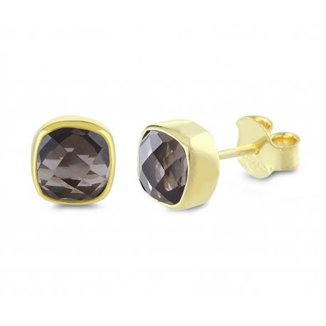 Mini Ohrstecker mit Rauchquarzen - vergoldet