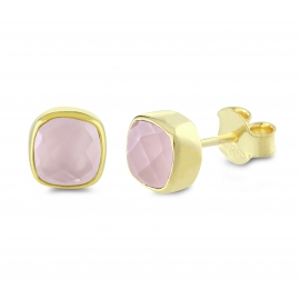 Mini ear studs with pink chalcedonies - gold plated