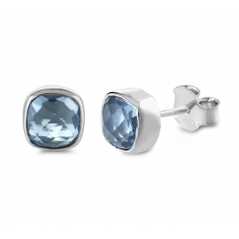 Mini ear studs with blue quartz - Silver