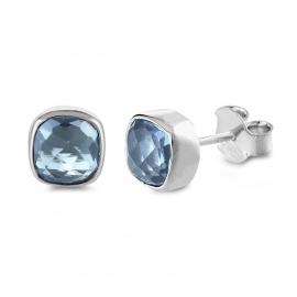 Mini Ohrstecker mit blauen Quarzen - Silber