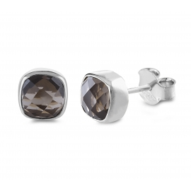 Mini ear studs with smoky quartz - Silver