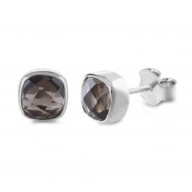 Mini Ohrstecker mit Rauchquarzen - Silber