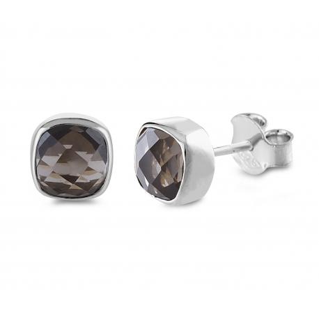 Mini ear studs with smoky quartz- Silver
