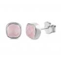 Mini Ohrstecker mit rosa Chalcedonen - Silber