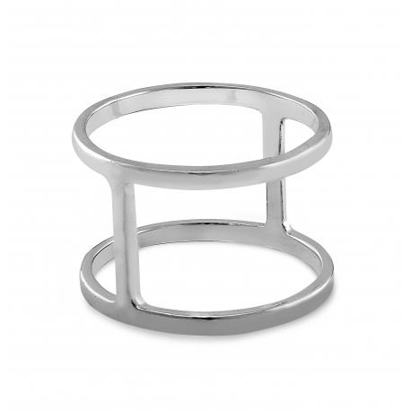 Minimalistischer, geometrischer Ring mit vertikaler Linie - Silber