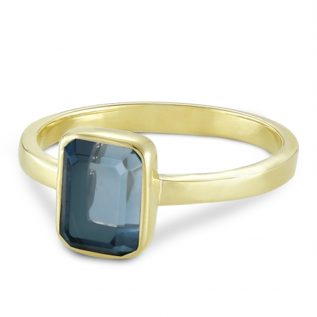 Ring with blue quartz - gold plated