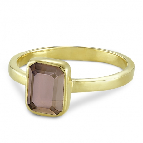 Ring with smoky quartz - gold plated