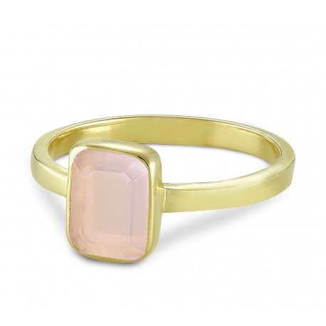 Ring with pink chalcedony - gold plated