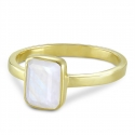 Ring with moonstone - gold plated