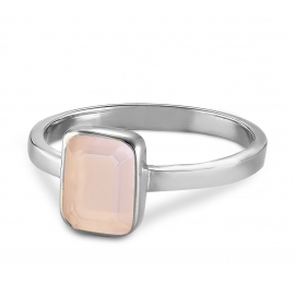 Ring with pink chalcedony - silver