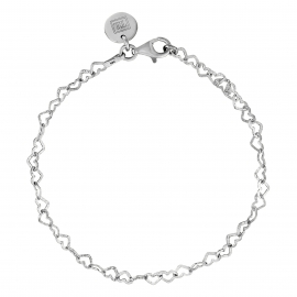 Bracelet with hearts in rhodium plated silver