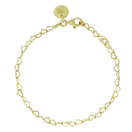 Bracelet with hearts in gold plated silver