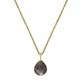 Necklace with smoky quartz drop - gold plated
