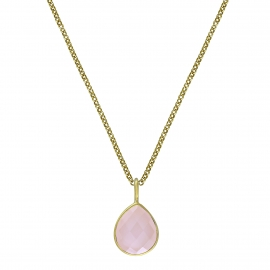 Necklace with pink chalcedony drop - gold plated