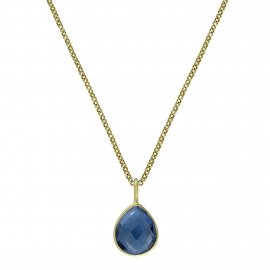 Necklace with blue quartz drop - gold plated