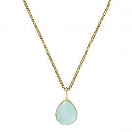 Necklace with aqua chalcedony drop - gold plated