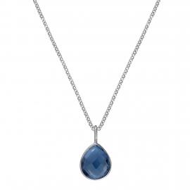 Necklace with blue quartz drop - silver