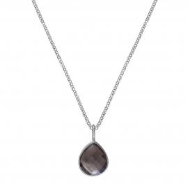 Necklace with smoky quartz drop - silver
