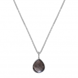 Necklace with smoky quartz drop - silver