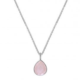 Necklace with pink chalcedony drop - silver