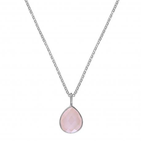 Kette mit rosa Chalcedon Tropfen - Silber