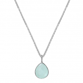 Necklace with aqua chalcedony drop - silver
