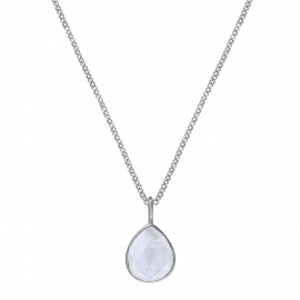 Necklace with moonstone drop - silver