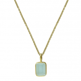 Necklace with small aqua chalcedony - gold plated